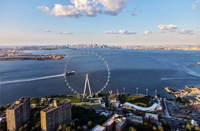 Het New York Wheel zou in april 2018 moeten gaan draaien, maar sinds de zomer ligt het werk stil.