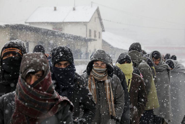 Archiefbeeld van migranten in Servië