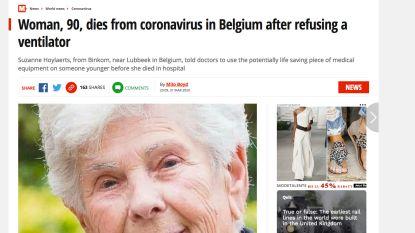 Suzanne (90) haalt wereldpers nadat ze beademing weigerde om jongere coronapatiënt te redden