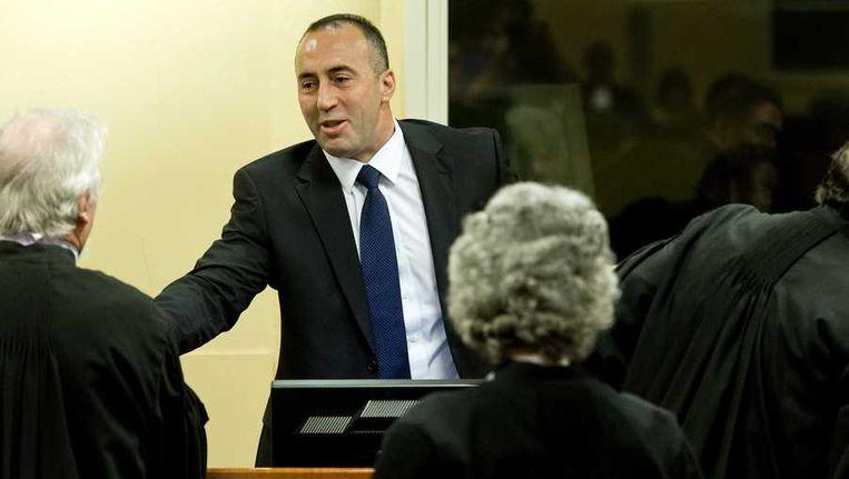 Ramush Haradinaj tijdens de rechtszaak in het Joegoslavie-Tribunaal. Beeld anp