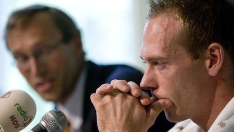 Turner Yuri van Gelder tijdens een persconferentie. Foto ANP Beeld