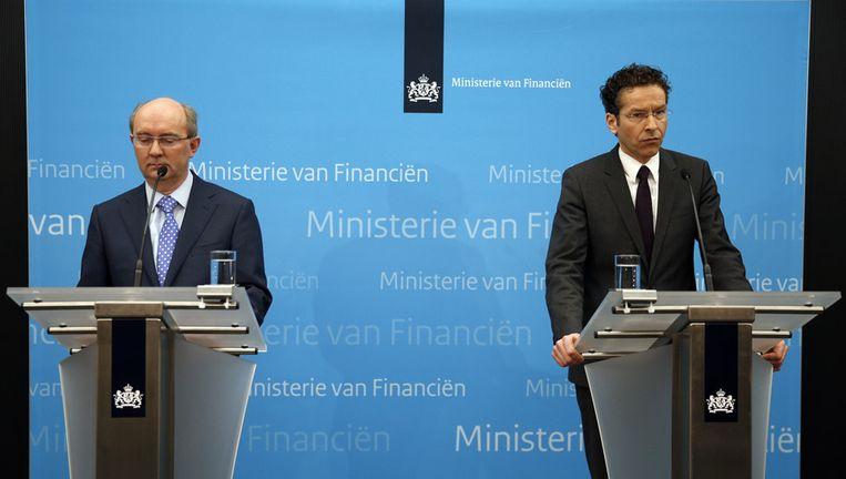 Directeur Toezicht DNB Jan Sijbrand en minister van Financiën Jeroen Dijsselbloem Beeld ANP
