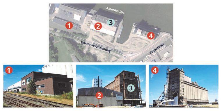 Er staan vier gebouwen op de SAMGA-site: enkel nummer 3 - de bakstenen graansilo - blijft behouden. Gebouwen 1 en 2 gaan de komende weken tegen de grond, nummer 4 in de zomer.