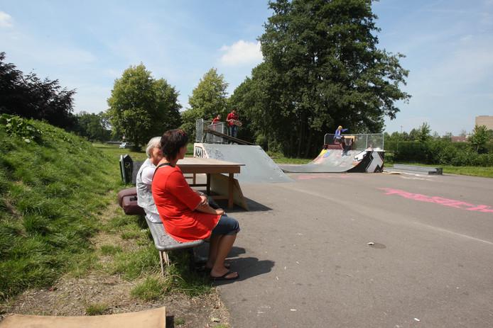 Archiefbeeld van de skatebaan in het Veenendaalse Stadspark uit 2007, een jaar na de opening van de baan. Die is inmiddels hard toe aan een opknap.