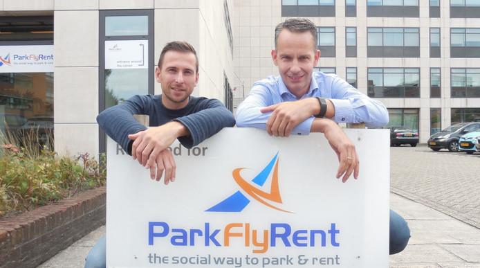 Niels de Greef (links) en zijn compagnon Jochem de Boer van ParkFlyRent.