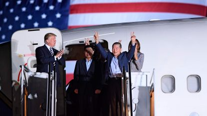 Trump ontvangt drie bevrijde Amerikaanse gevangenen na terugkeer uit Noord-Korea