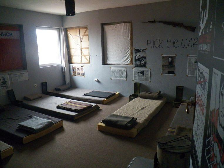 Een kamer voor zes personen.