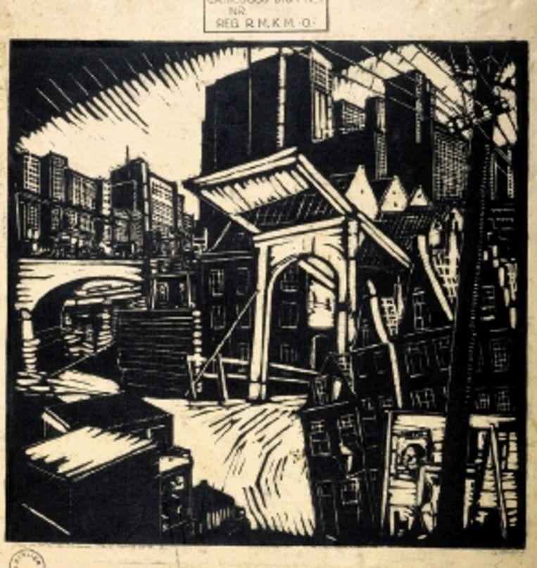 De oude en de nieuwe stad. Linoleumsnede, 1929. (Trouw) Beeld
