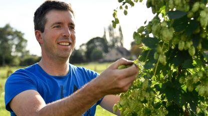 David plukt allereerste zelf gekweekte hop om zelf bier mee te brouwen
