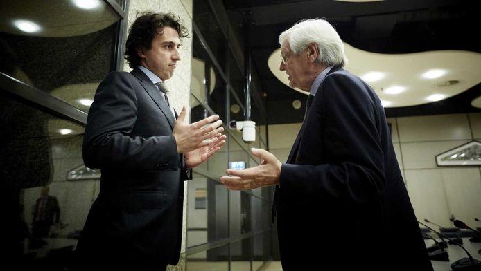 GoenLinks-Kamerlid Jesse Klaver (L) in gesprek met president-commissaris Rik van Slingelandt van ABN AMRO