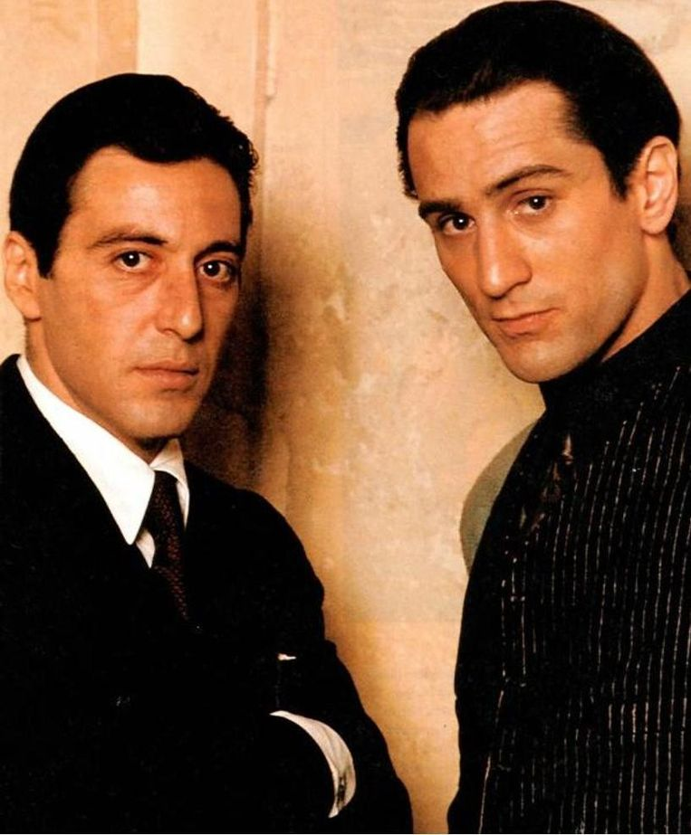 Al Pacino en Robert De Niro in 1974 in 'The Godfather: Part II'.