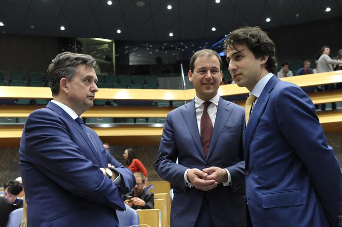 (L-R) SP-leider Roemer, Pvda-voorman Asscher en GroenLinks-fractievoorzitter Jesse Klaver