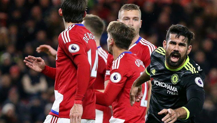 Diego Costa viert zijn beslissende doelpunt tegen Middlesbrough Beeld AP