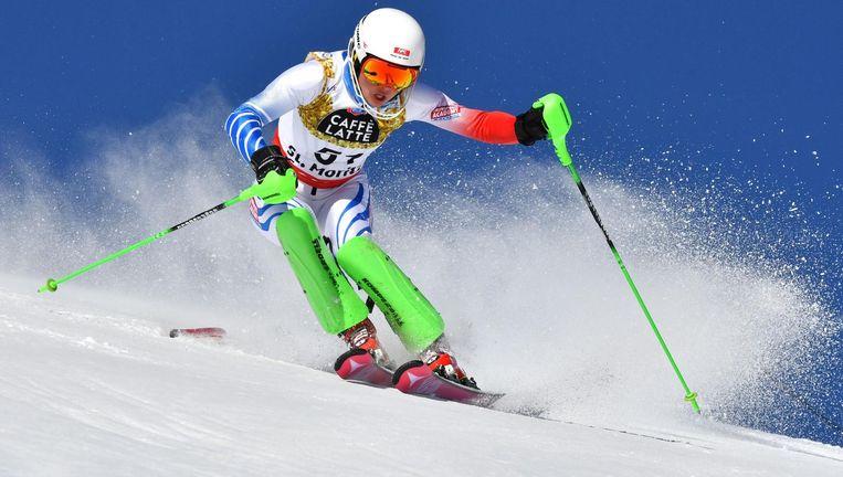 Februari 2017. Adriana Jelinkova in actie op de slalom bij de WK in St. Moritz. Zij finishte als 30ste. Beeld AFP