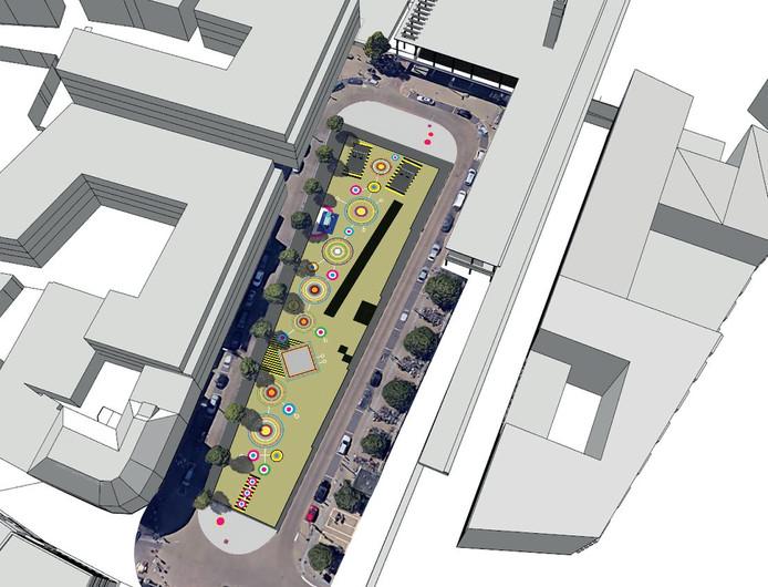 Impressie van tijdelijke herinrichting van Stationsplein Enschede met kunst en muziekinstallaties.