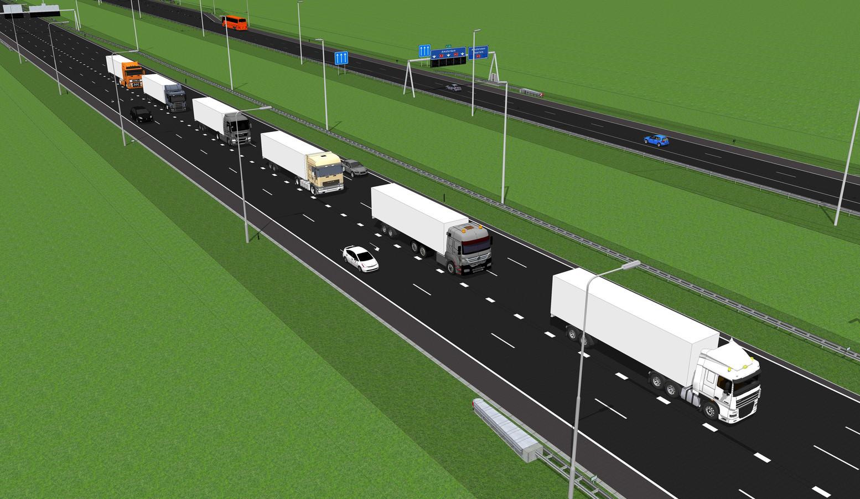 Grafische voorstelling van zes trucks met verschillende merken die automatisch platoonen, ofwel als een trein achter elkaar rijden.