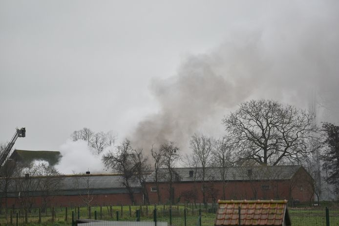 De brand veroorzaakte een grote rookpluim.