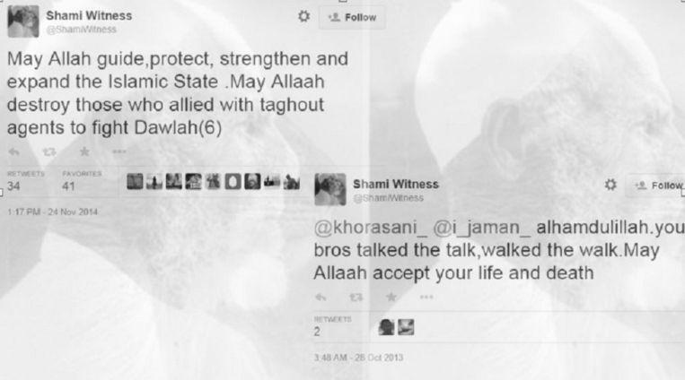 """Tweets van het inmiddels verwijderde account van Shami Witness: """"Moge Allah de Islamitische Staat leiden, beschermen, versterken en uitbreiden."""""""