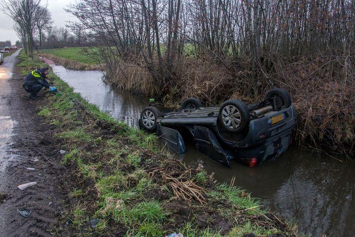 De te water geraakte auto in Kockengen.
