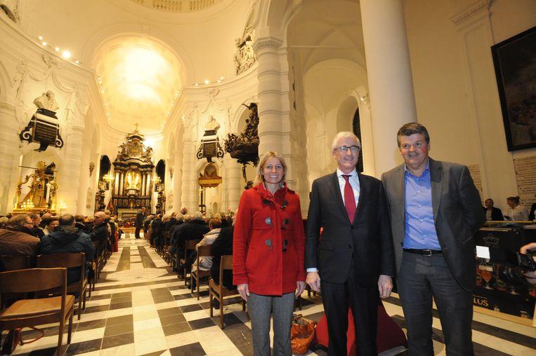 Schepen Greet Geypen, minister-president Geert Bourgeois en burgemeester Bart Somers woonden de viering bij.
