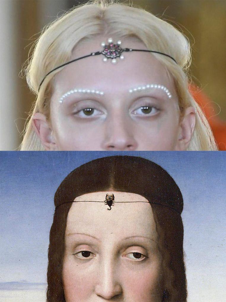 Links: een model van Gucci. Rechts: hertogin Elisabetta Gonzaga. Beeld