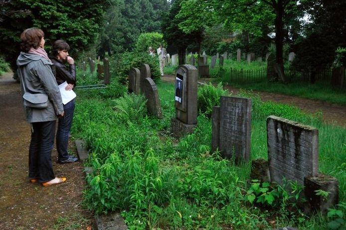 Bizarre plaats voor het practische deel van de kunstquiz: de verborgen oorlogsbegraafplaats aan de Reinaldstraat in Velp.foto Gerard Burgers