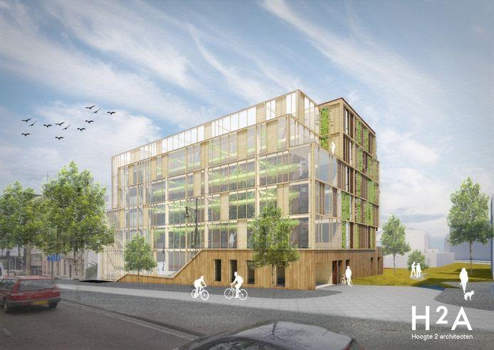 Het collectief Cohousing maakte het winnende plan voor een nieuw appartementengebouw aan het Nieuwe Plein in het Arnhemse Coehoorngebied. Hier een impressie.