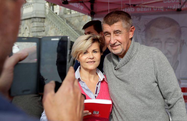 ANO-leider Andrej Babis op campagne in Praag. Beeld REUTERS