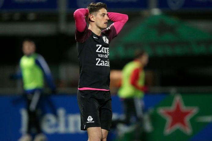 Adrián Dalmau startte na de winterstop één keer in de basis bij FC Utrecht, uit bij PEC Zwolle.