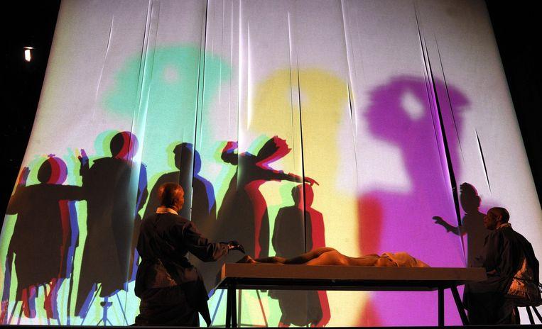 Voorstelling van de Franse dramaturg Jean Genet tijdens de Wiener Festwochen 2014. Beeld epa