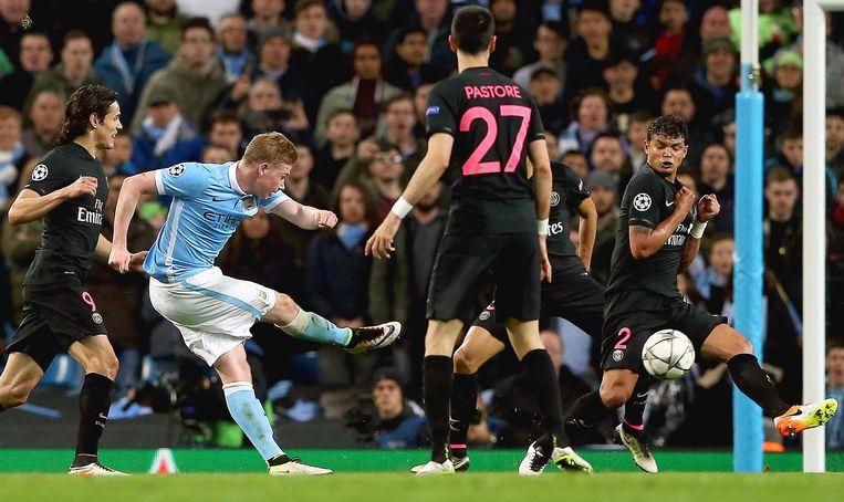 Scorend voor Manchester City in de Champions League tegen Paris Saint-Germain. Beeld epa