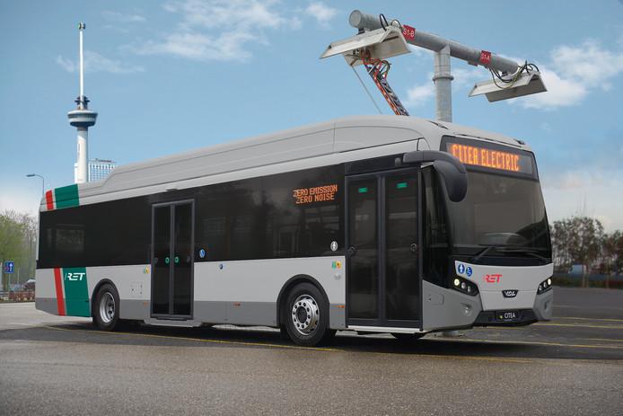 Een elektrische bus van de RET.