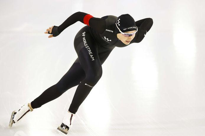 Jutta Leerdam in actie op de 1000 meter tijdens NK sprint in Thialf.