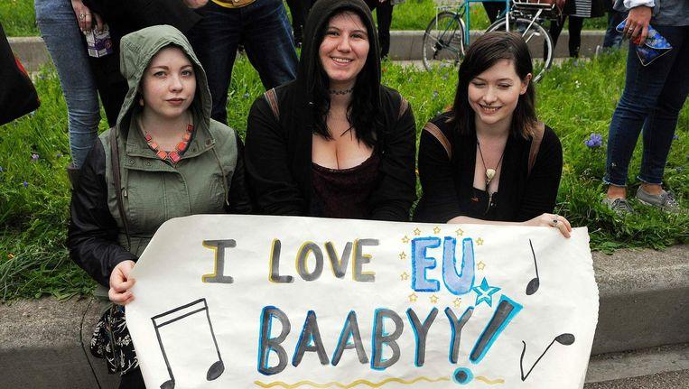 Actievoerders tijdens een Bremain-demonstratie in Edinburgh. Beeld afp