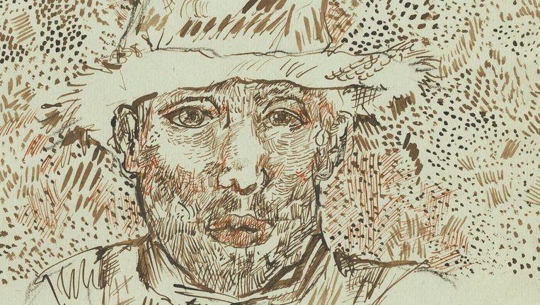 Zelfportret met strohoed Juli of augustus 1888, Arles Beeld null