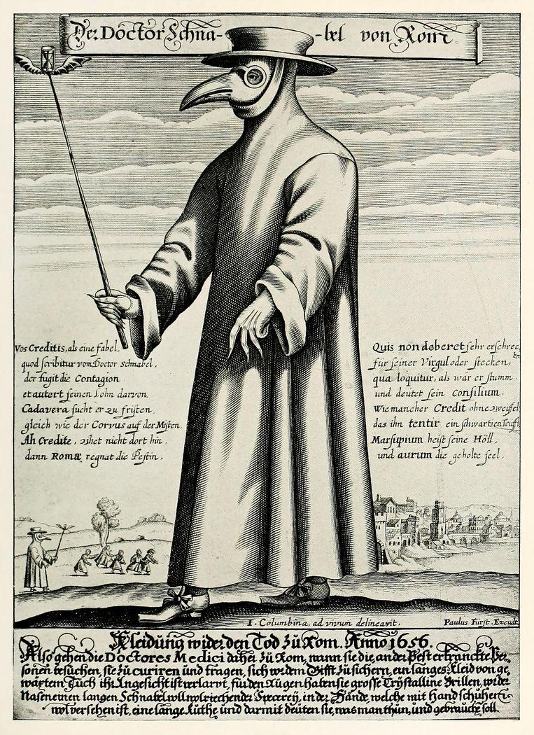 Doctor Schnabel von Rom / Kleidung wieder den Tod zu Rom Prent uitgegeven door Paulus Fürst, 1656, Neurenberg. British Museum, Londen.  Beeld Imageselect