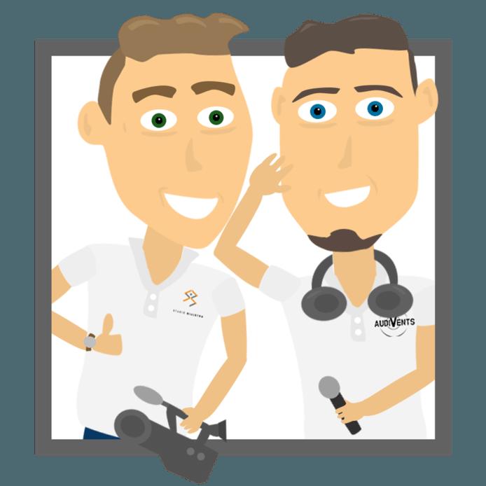 Een animatie van het ondernemersduo, gemaakt door Cars Bijlstra: links hijzelf, rechts compagnon Jordi Voort.