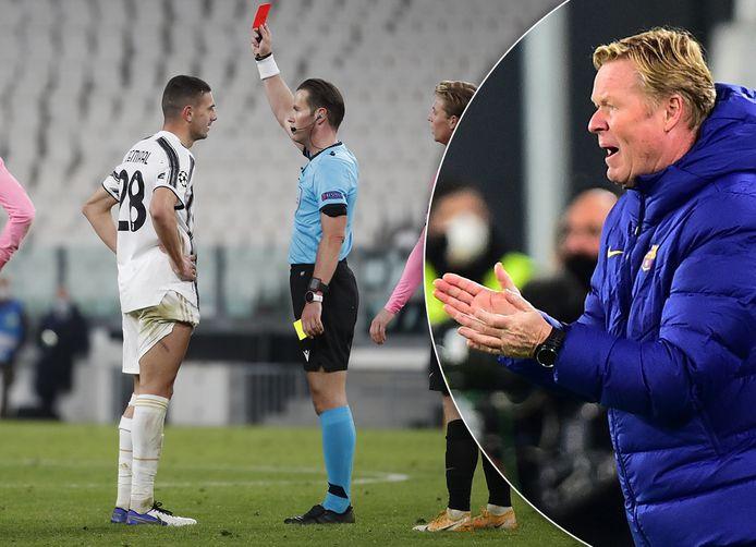 Danny Makkelie geeft rood aan Merih Demiral (Juventus). Inzet: Ronald Koeman.