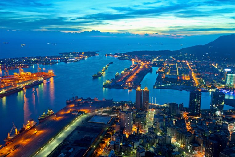 De stad Kaohsiung in Taiwan.