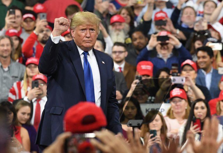 President Trump tijdens een rally in Milwaukee.