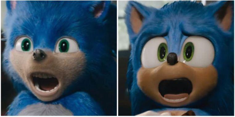 Sonic heeft een nieuwe look: links zie je de eerste versie, waar zware kritiek op kwam, rechts de nieuwe versie.