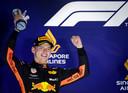 2018: Max Verstappen op het podium in Singapore.