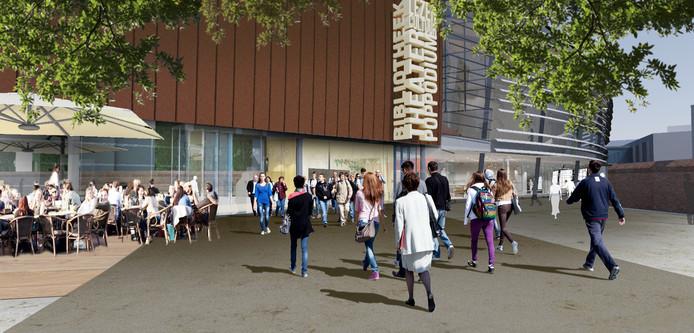 Een schetsontwerp van het nieuwe Muziekkwartier in Enschede, waar straks misschien ook de bibliotheek in komt.