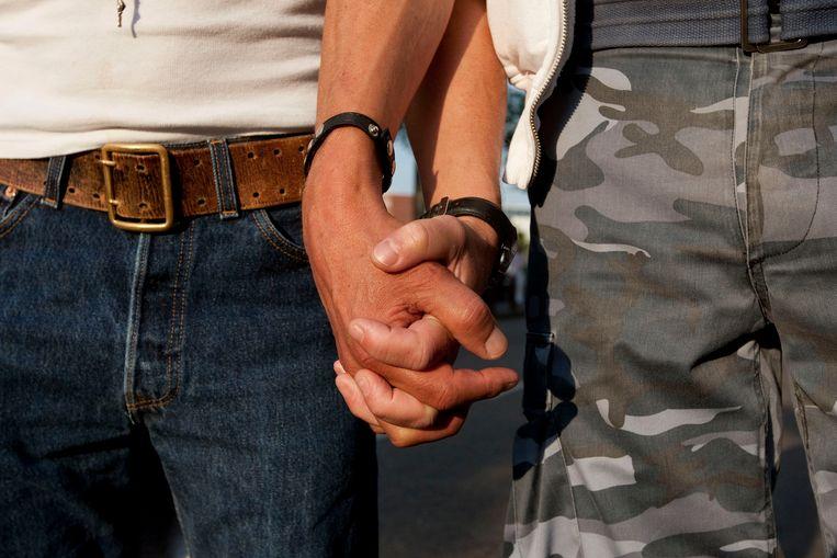 Het is de tweede keer in een maand dat de twee werden belaagd omdat ze elkaars hand vasthielden. Beeld ANP XTRA