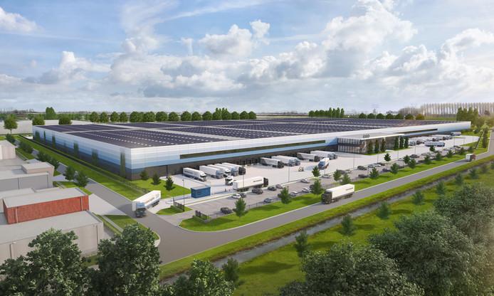 Impressie van het XXL Distributiecentrum op bedrijvenpark 7Poort. Op het dak - met een oppervlakte van 13 hectare - het zonnepark.