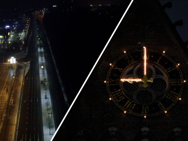 Zo zag Tilburg er van boven uit tijdens het slaan van avondklok