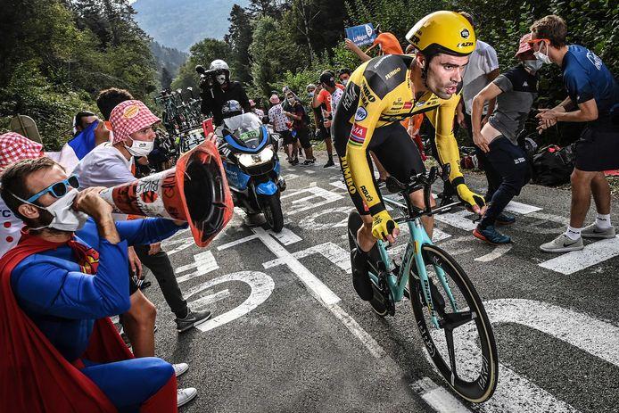 Tom Dumoulin bij zijn tijdrit in de Tour de France afgelopen zaterdag.