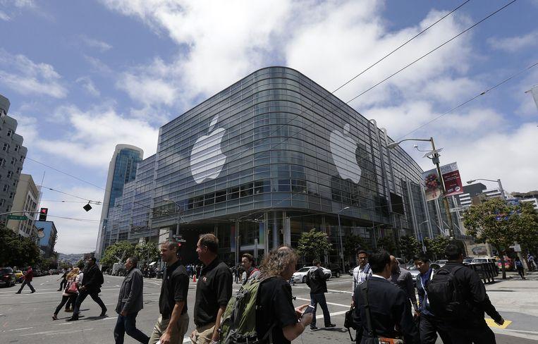 Het Moscone Center in San Francisco, waar Apple zijn muziekdienst aankondigde. Beeld ap