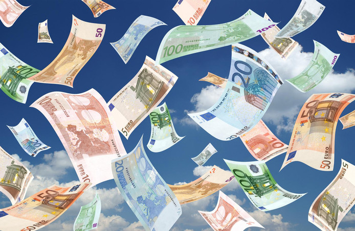 Falling euro's banknotes on sky background
