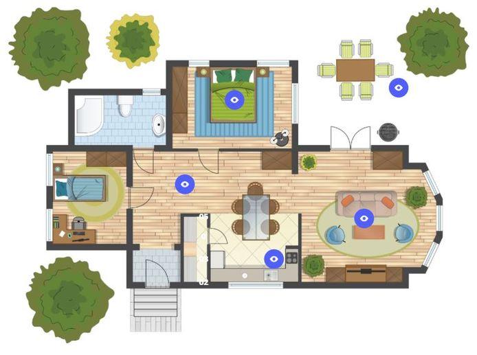 De interactieve kaart van een huis waarop je kunt zien hoe vies de luchtkwaliteit in een gedeelte van de woning is. Je vindt de kaart onderaan dit verhaal, waar je kunt klikken op interactieve elementen.